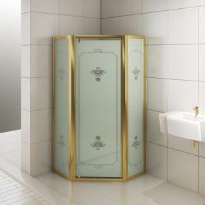 Душевое ограждение Calypso 900*900*1900 с матовым стеклом (1 подв. + 2 неподв.) золото
